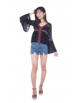 Bell Sleeves Embroidery Shirt