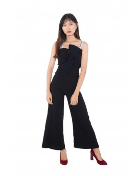 Straps Black Long Jumpsuit