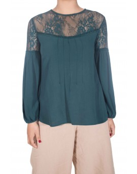 Sheer Shoulder Mesh Lace Blouse