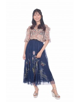 Butterfly Floral Embroidery Mesh Skirt
